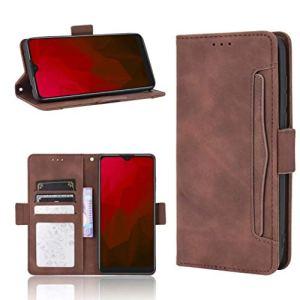 JARNING Coque pour Oppo A8/A31 2020,Multi-Carte Portefeuille Cuir Etui avec Fermeture magnétique Carte Fentes Fonction de Support Flip Case (Marron)