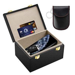 Kolaura Bloc de signal de clé de voiture avec pochette de sécurité pour clé de voiture, blocage RFID pour appel, cartes, boîte sans clé