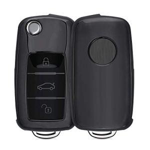 kwmobile Accessoire Clef de Voiture Compatible avec VW Skoda Seat 3-Bouton – Coque de Protection en Silicone Anthracite Haute Brillance
