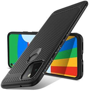 Luibor Coque Google Pixel 5, Noir Coque givré Silicone Ultra-Mince Anti-Choc Anti-Rayures Etui pour Google Pixel 5