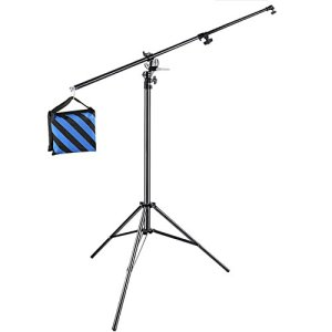 Neewer 3,9m 2-en-1 Support de Lumière avec 190cm Bras Girafe et Sac de Sable pour Softbox Studio Flash pour Photo de Portrait Vidéo, en Alliage d'Aluminium (Sac de Sable Vide)