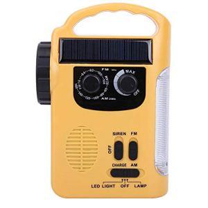 oueaen Lampe de Poche Radio extérieure, Lampe de Poche à LED Radio FM/AM à Dynamo à manivelle chargée Solaire d'urgence extérieure