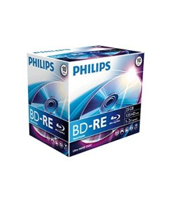PHILIPS BD-RE BE2S2J10C/00 – Disques Vierges Blu-Ray (BD-RE, 25 Go, 120 mm, 135 Min, 2X, 2X)