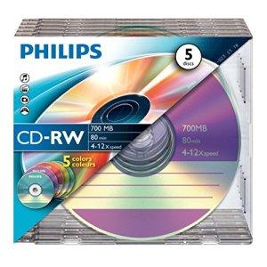 Philips CW7D2CC05/00 5 CD-RW Box ultrafin cou 4/12x 80 min 700 Mo