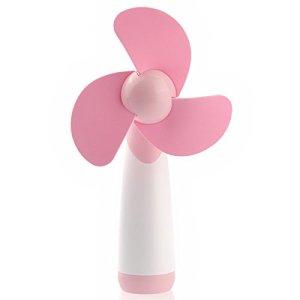Rosenice à piles Fans Portable Mini ventilateur en mousse souple Lames Handheld ventilateurs (Rose)
