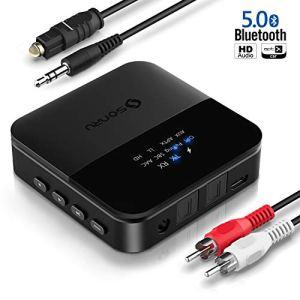 SONRU Emetteur et Recepteur Bluetooth 5.0, Bluetooth Transmetteur Optique Digital et Adaptateur RCA Audio 3.5mm, Affichage d'état LED, AptX LL AptX HD, Double Appairage, 20M Distance, Opération facile