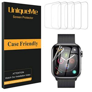 UniqueMe [6 pièces] Protection écran pour Apple Watch 44mm (séries 5), [Adsorption anhydre] [Film Flexible] Soft HD TPU Clear Anti-Rayures