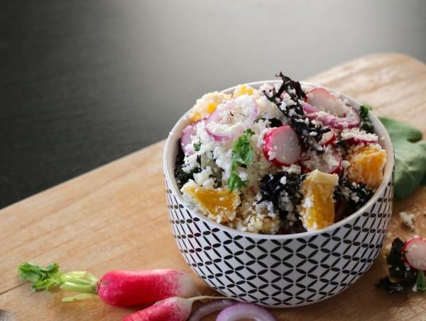 taboulé de chou-fleur, chou kale, radis et orange