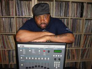 Producer Lord Finesse with his SP-1200 drum machine