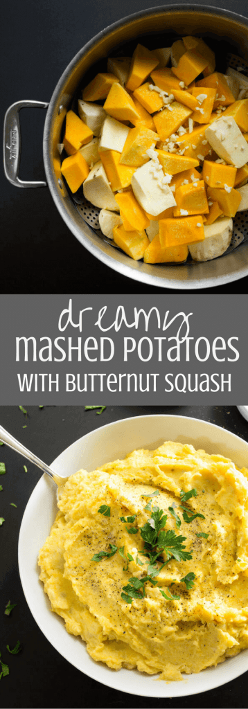 Dreamy Mashed Potatoes with Butternut Squash - Naturally creamy and delicious Japanese sweet potatoes, butternut squash, and garlic are steamed and then mashed with butter, sour cream, and milk to create these dreamy mashed potatoes that are the perfect side dish for any holiday gathering. | passmesometasty.com