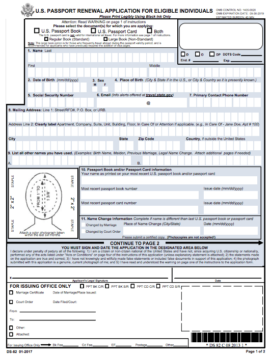 Ds 82 Passport Renewal Application Form