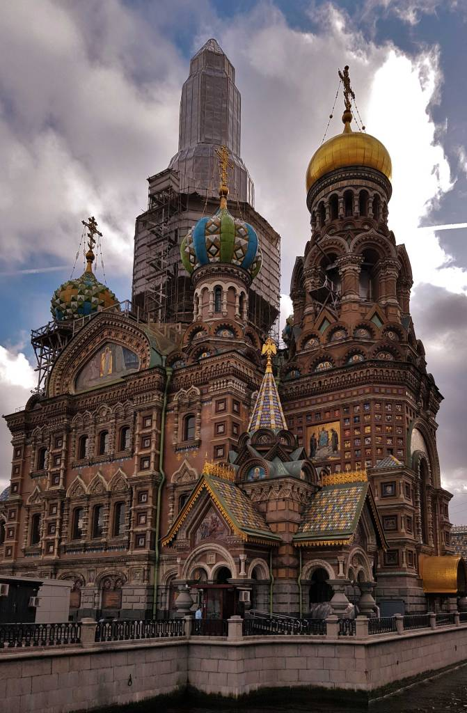 The beautiful Church of the Saviour on Spilled Blood with the central spire surrounded by scaffolding
