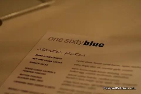 one sixtyblue menu