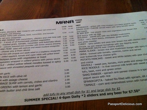 Mana Food Bar Menu