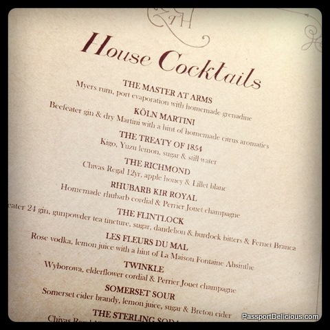 Zetter Townhouse Cocktail Menu