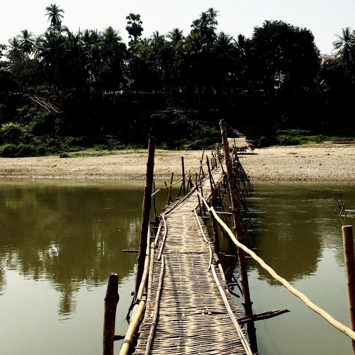 Crossing the bamboo bridges, one of the more petrifying things to do in Luang Prabang
