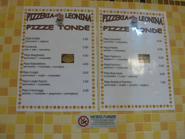 Pizeria leonina menu