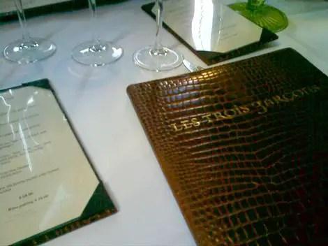 Le trois garcons menu