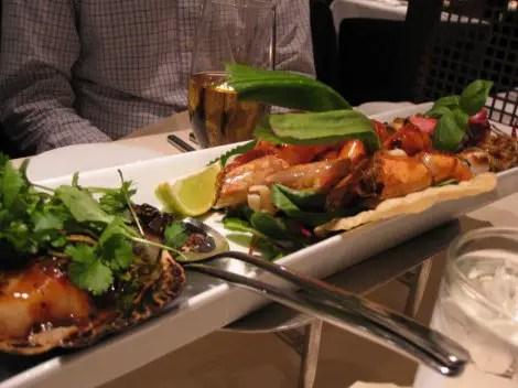 Dinner seafood trio