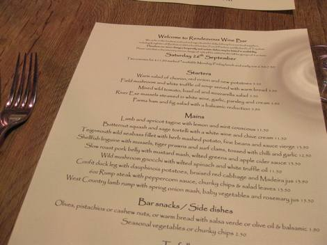 Rendevous menu