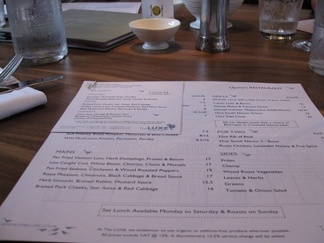 Luxe menu