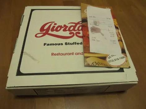 Giordanos pizza box