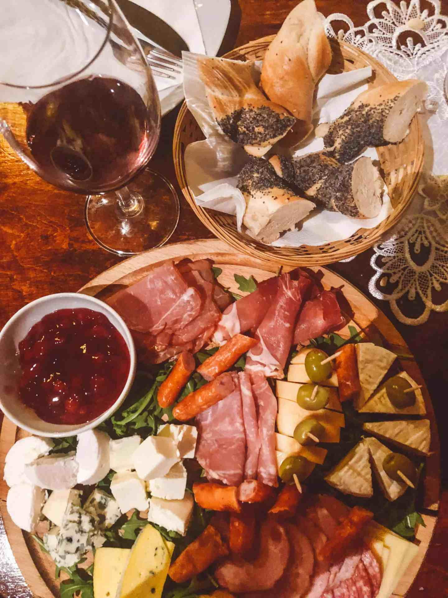 Charcutterie board and wine