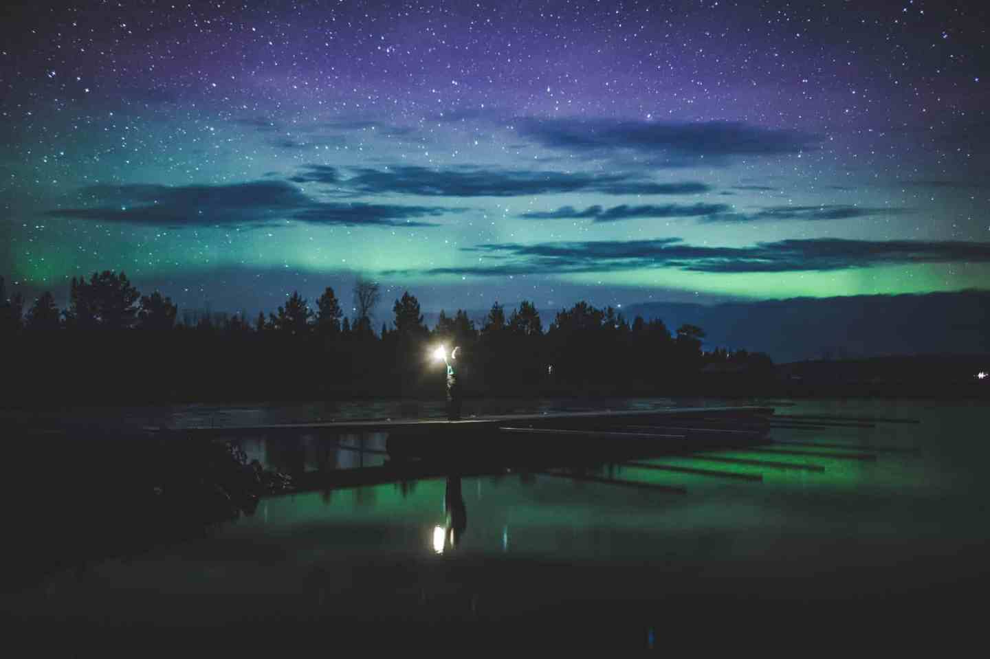 Northern Lights light up the night sky in Finnish Lapland