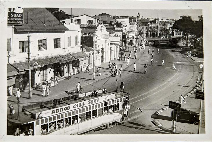 Vintage Photo Madras Mount Road Electric Tram
