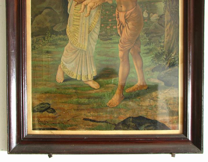 "Raja Ravi Varma's ""Birth of Shakuntala"" Oleograph of c1894"