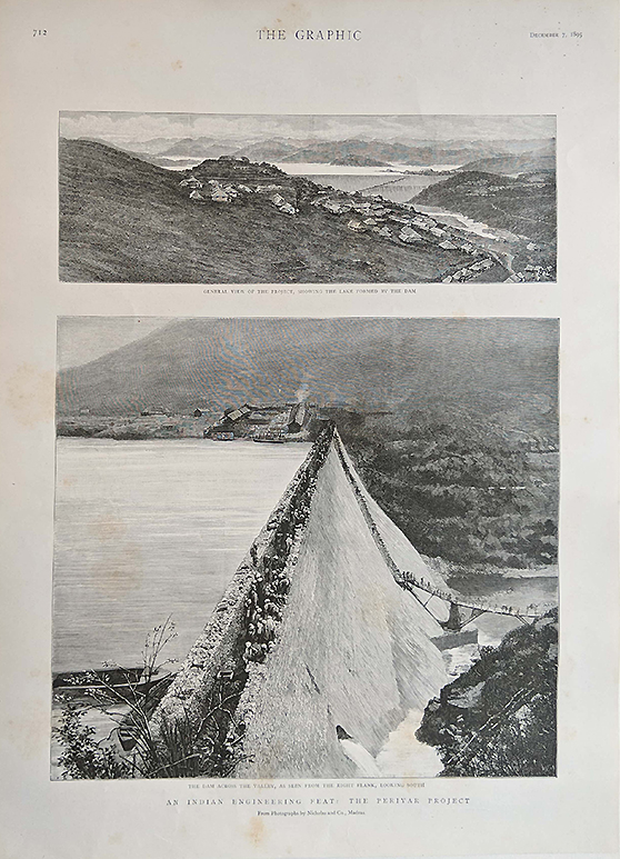 Antique Print Making Of The Mullaperiyar Dam
