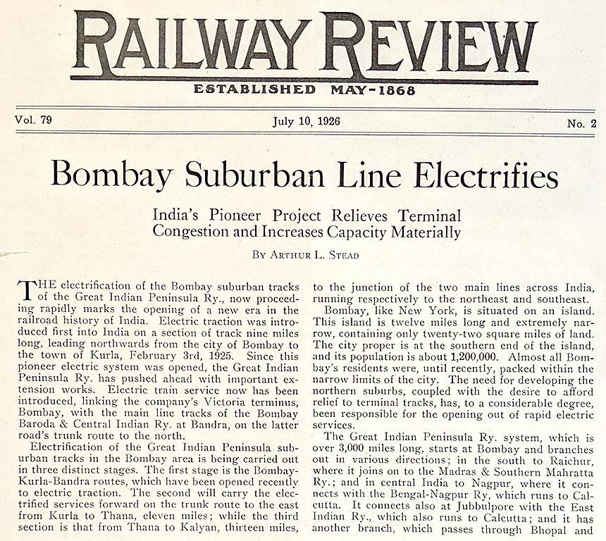 Vintage Print Bombay Suburban Line Electrifies