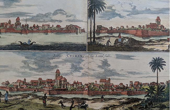 Antique Map/Plan Panoramic View Of Cochin 1704