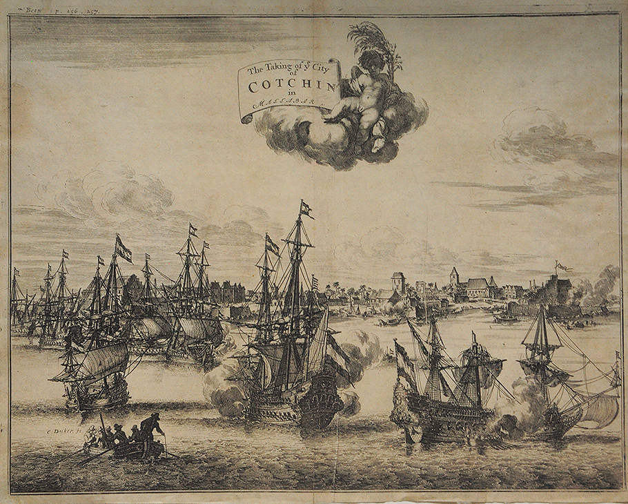 Taking of The City of Cochin - Antique Plan 1744
