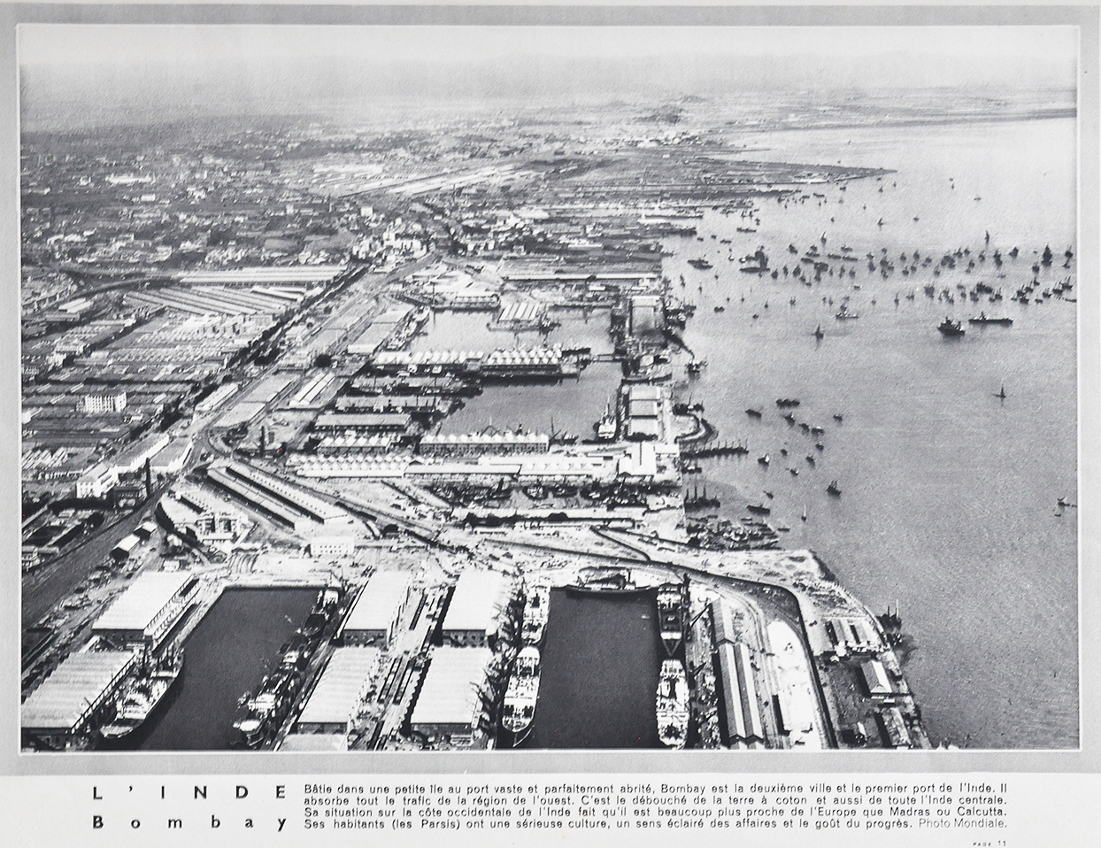 Aerial View of Bombay Harbour & Docks - Old Print 1931