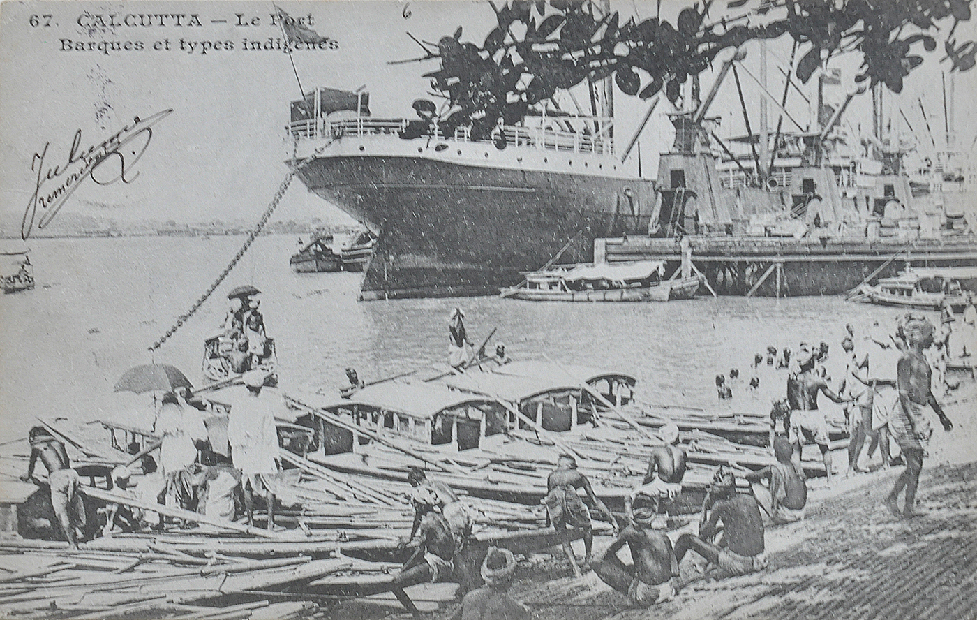 Calcutta Harbour & Native Boats - Old Postcard 1912