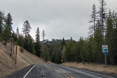 Impasse on the Blue Mountain Scenic Byway due to snow and ice