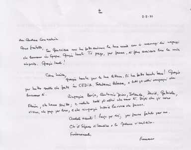 Carta del Papa Francisco a CEDIA 2r horas, personas sin hogar, Cáritas Madrid