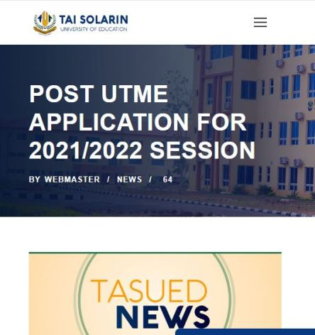 TASUED Post UTME/DE Screening Form
