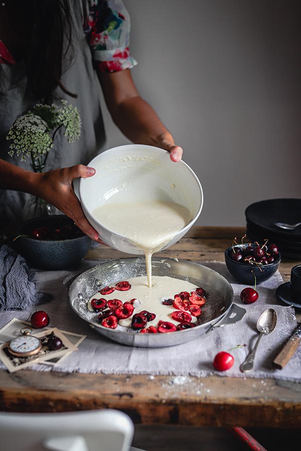 recette du clafoutis vegan aux cerises, recette d'été recette végétale aux fruits de saison