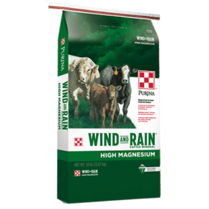 Purina Wind and Rain Hi-Mag for cattle. Green and white 50-lb feed bag. Cows.