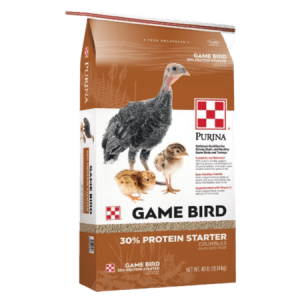 Tan and white poultry feed bag. Young game birds. Feed for wild game birds.