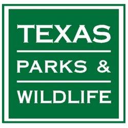 Texas Parks & Wild Life Logo. Green and white logo with border.