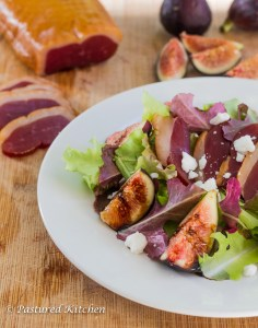 Fig Salad with Duck Prosciutto, Goat Cheese and Balsamic Drizzle