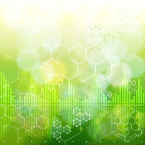 ecology background: chemical formulas, digital wave & green bokeh abstract light