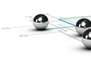 chrome ball linked by a green line, grey network with other balls, illustration over white background, concept of networking