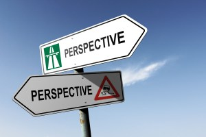 Perspective directions. Choice for easy way or hard way.