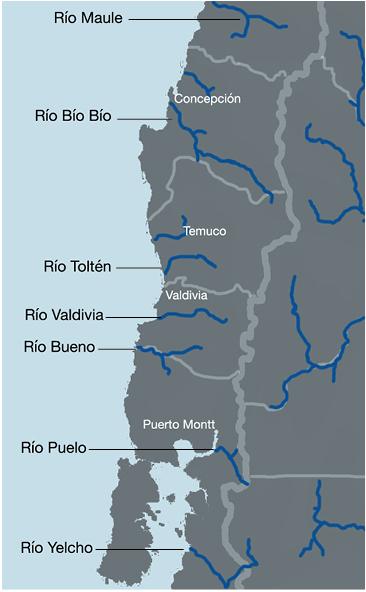 Mapa: Seis cuencas hidrográficas que están siendo priorizadas por el gobierno chileno.