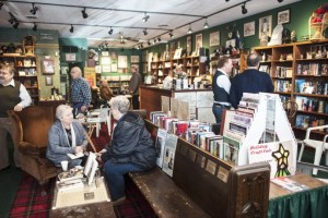 Centuries and Sleuths Bookstore, November 26, 2016, Independent's Day. Pat Camalliere talks with reader Donna Andree, others.