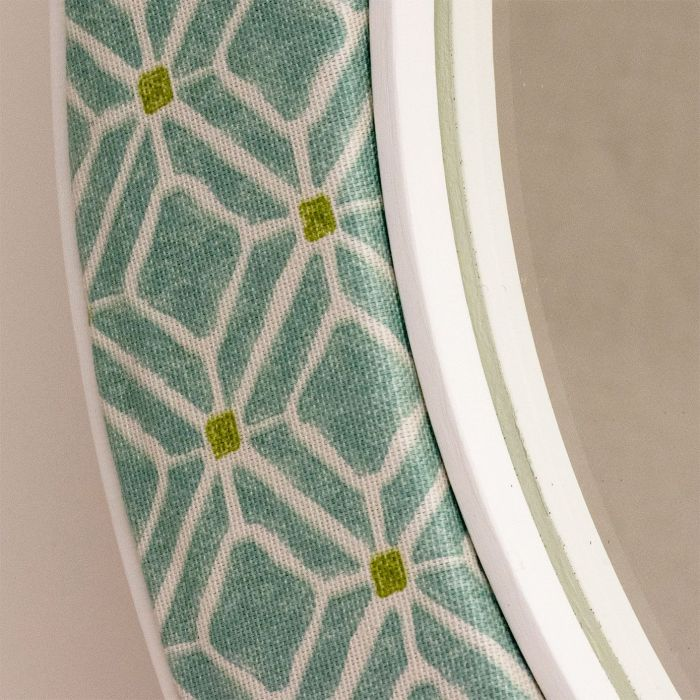 Close up of the Imogen Mirror Fabric in Aqua
